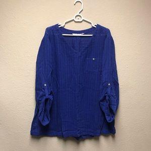 [Soft Surroundings] Blue Gauze Topanga V-Neck Top